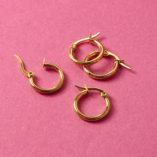 Kolczyki koła ze stali chirurgicznej złoty 16mm