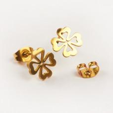 Kolczyki sztyfty ze stali chirurgicznej koniczynka wycięta złoty 9mm