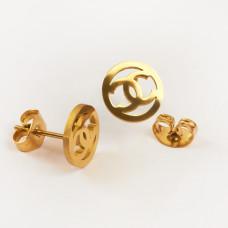 Kolczyki sztyfty ze stali chirurgicznej wzorek złoty 9mm