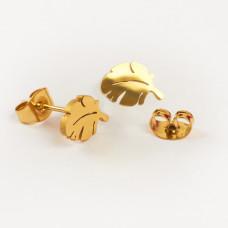 Kolczyki sztyfty ze stali chirurgicznej liść monstery złoty 6,7x9,5mm
