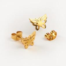 Kolczyki sztyfty ze stali chirurgicznej motylek złoty 9,5x7mm