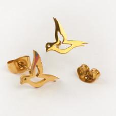 Kolczyki sztyfty ze stali chirurgicznej gołąbek złoty 9x12mm
