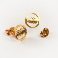 Kolczyki sztyfty ze stali chirurgicznej liść laurowy złoty 9mm