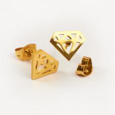 Kolczyki sztyfty ze stali chirurgicznej diament złoty 10x8mm