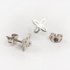 Kolczyki sztyfty ze stali chirurgicznej koniczyna marokańska srebrny 8,7mm