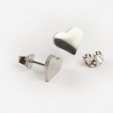 Kolczyki sztyfty ze stali chirurgicznej serduszko srebrny 10x8mm