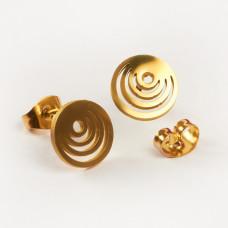 Kolczyki sztyfty ze stali chirurgicznej kółka złoty 9,4mm