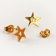Kolczyki sztyfty ze stali chirurgicznej gwiazdka złoty 9,2x8,8mm