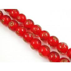 Szkło weneckie lampwork kulka czerwona 14mm