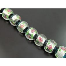 Szkło weneckie lampwork kulka róża w emeraldzie 18mm