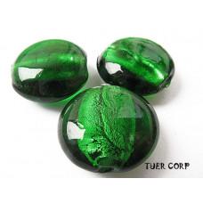Szkło weneckie krążek zielony 15mm