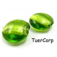 Szkło weneckie krążek soczysta zieleń 20mm