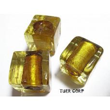 Szkło weneckie kostka złota 15mm