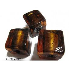 Szkło weneckie kostka brązowa 15mm