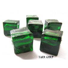Szkło weneckie kostka zielona 8mm