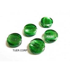 Szkło weneckie krążek zielony 14mm