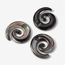 Zawieszka szkło weneckie spirala czarno-złota 48mm