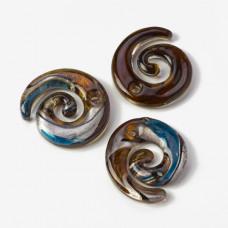 Zawieszka szkło weneckie spirala niebiesko-złota 48mm