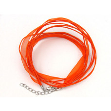 Baza naszyjnika z wstążką 49cm pomarańczowa