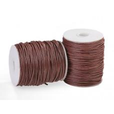 Sznurek bawełniany woskowany ciemno brązowy 2mm