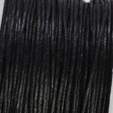 Sznurek bawełniany woskowany czarny 1mm