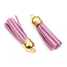 Chwost z rzemienia zamszowego w złotym okuciu jasno fioletowy 4cm
