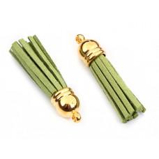Chwost z rzemienia zamszowego w złotym okuciu zielony 4cm