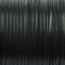 Sznurek powlekany płaski czarny 2mm