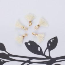 Mini chwosty w złotym okuciu ecru 10mm