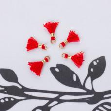 Mini chwosty w złotym okuciu czerwony 10mm