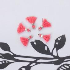 Mini chwosty w srebrnym okuciu brudny róż 10mm