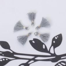 Mini chwosty w srebrnym okuciu szary 10mm