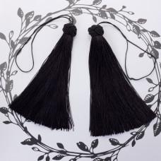 Chwosty z czapeczką ozdobną czarny 15cm