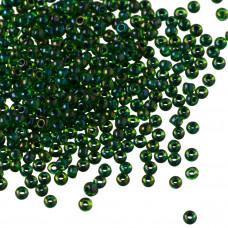 Koraliki TOHO Round 11/0 Inside-Color Rainbow Peridot/Opaque Green Lined
