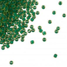 Koraliki TOHO Round 11/0 Frosted Inside-Color Jonquil/Emerald Lined