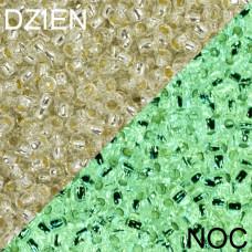Koraliki TOHO Round 8/0 Glow In The Dark SilverLined Crystal/Glow Green