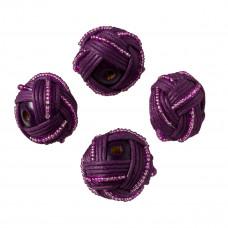 Oponki plecione z koralikami i bawełną fioletowe 30mm