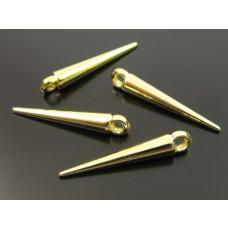 Kły akrylowe metalizowane w kolorze złota 22x3mm