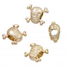 Koralik czaszka light gold 4mm