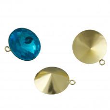 Baza do rivoli z jednym oczkiem kolor złoty 18mm