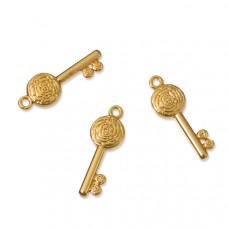 Zawieszki kluczyk z różą real gold color 23x8mm
