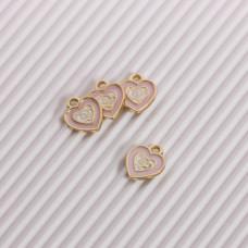 Zawieszka emaliowana serduszko różowy 11mm