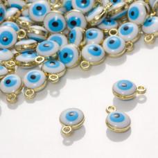 Zawieszka emaliowana oczko błękitne 7mm