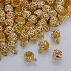 Krawatka z pacyfką do rzemieni w złotym kolorze 10mm