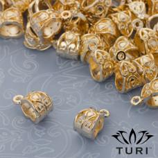 Krawatka z łezka ozdobna w złotym kolorze 13x7.5mm