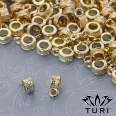Krawatka z warkoczem do rzemieni w złotym kolorze 3mm