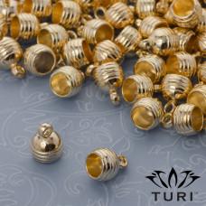 Zawieszka tarcza z serduszkami i kropeczkami w kolorze złotym 12mm