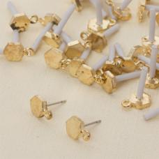 Kolczyki sześciokąty z oczkiem 12 mm