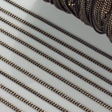 Łańcuszek pancerka dodatkowo platerowana w kolorze czarno-złotym 2mm