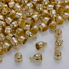 Końcówki do rzemieni i sznurków beczułki w złotym kolorze 8,5mm